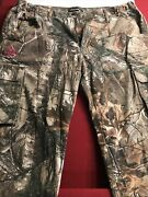 Womens Xxl Real Tree Xtra Camouflage Cargo Pant Hunting Outdoor Tan Camo Tie Leg