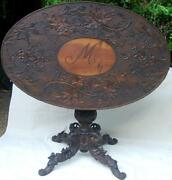Carved Wood Antique Wine Table Germany Tilt Top Oval Ramand039s Heads