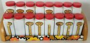 Vintage Set Of 16 Griffithand039s Milk Glass Spice Jars W Red Lid And Rack