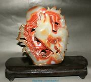 China Natural Red Agate Carving Zodiac Year Rooster Cock Chickens Chicken Fowl
