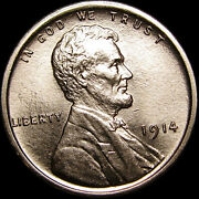 1914 Lincoln Cent Wheat Penny Us Coin ---- Gem Bu++ Details ---- S350