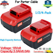 18 Volt 3.0ah 6.0ah Lithium Battery For Porter Cable 18v Pc18blx Pc18bl Tool Us