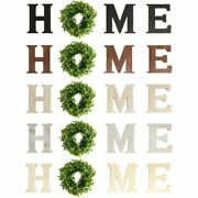 Home Farmhouse Home Sign With Wreath, Rustic Wooden Wall Hanging Plaque Sign