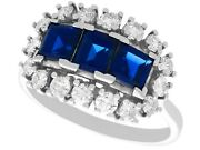 1.55ct Sapphire And 0.48ct Diamond 18ct White Gold Dress Ring - Vintage