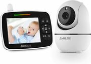 Baby Monitor With Remote Pan-tilt-zoom Camera 3.5andrdquo Large Display Video Baby Mon