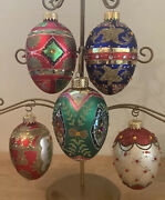 Vintage Faberge Inspired Glass Jeweled Egg Ornaments Christmas - Set Of 5 Boxed