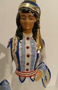 🇬🇷 Vintage Metasca Ouzo Greek Woman Ceramic Decanter Hand Painted Gold Overlay