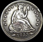 1853 Seated Liberty Quarter Dollar Silver ---- Cud Us Type Coin ---- S331