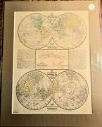 Antique Map Of The World Engraved Mitchell's School Atlas Print 1846 9x11.5
