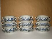 Set 18 Blue Danube Double Handle Soup Coupe Cream Bowl Saucer Rectangle Stamp