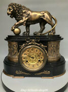 18.1 Old Chinese Pure Bronze Lion Classical Clockwork Mechanical Clock