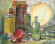 Expressionism Still Life Bottles Cans Vintage Oil Painting
