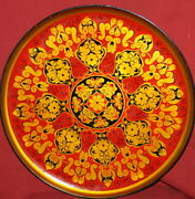 Vintage Soviet Russian Hand Painted Floral Wood Tray