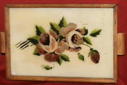 Antique Hand Painted Floral Wood Tray With Glass Cover