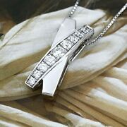 Bargain Made To Order Diamond Pt900 Cross 0.5ct Necklace Pendant A-e275
