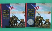 2005 Us Marine Corps Commemorative Silver Coin And Stamp Set W/ 2005-p Silver 1