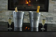 Nice Pair 2 French Champagne Perrier Jouet Wine Ice Bucket Silver Flower Design