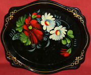 Vintage Soviet Russian Hand Painted Floral Flowers Plastic Tray Platter