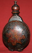 Vintage Small Hand Made Pyrography Wood Wine Brandy Flask