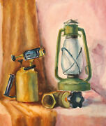 Vintage Watercolor Painting Still Life With Gas Lamps
