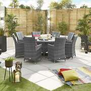 Mixed Grey Sienna 8 Seat Dining Set - 1.8m Round Table