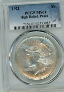 1921 Peace Silver Dollar High Relief Pcgs Ms61 Special Label 100th Anniversary
