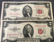 Red Seal 2 Bills Different Serial Numbers