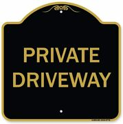 Signmission Designer Series Sign - Private Driveway Black And Gold 18 X 18 Sign