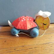 Vintage 1962 Fisher Price Sleepy Sue Turtle Pull Toy Red Shell White Flowers