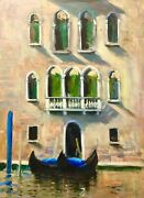 Listed Artist 18x24 Nino Pippa Original Oil Painting Venice Palace Grand Canal