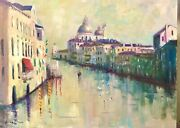 Listed Artist 18x24 Nino Pippa Original Oil Painting Seagulls On Grand Canal
