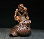Chinese Antique Wood Hand Carved Boxwood Exquisite Arhat Statue 2006
