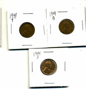 1944 P,d,s Wheat Pennies Lincoln Cents Circulated 2x2 Flips 3 Coin Pds Set3523