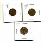 1944 P,d,s Wheat Pennies Lincoln Cents Circulated 2x2 Flips 3 Coin Pds Set3556