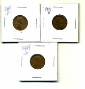1944 P,d,s Wheat Pennies Lincoln Cents Circulated 2x2 Flips 3 Coin Pds Set3559