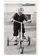 Vintage Photo Russia Little Boy Riding Bicycle Tricycle Toys Outdoor Games 8061f