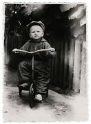 Vintage Photo Russia Little Boy Riding Bicycle Tricycle Toys Outdoor Games 8056f