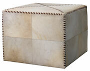 Jamie Young Large Ottoman In White Hide 20otto-lgwh
