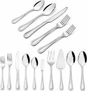 45-piece Silverware Set With Serving Utensils, Haware Stainless Steel Silver