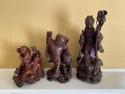 3 Chinese Rosewood Carved Statues Child With Tiger Immortal Hehe Twins