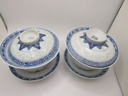 Rare 4 Chinese Antique Blueandwhite Rice Pattern Porcelain Covered Tea Cups