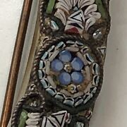 Rare And Hard To Find Antique Signed Micro Mosaic Large Crescent Moon Brooch/pin