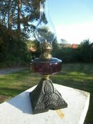 Antique Victorian British Made Oil Lamp And Chimney Shepards Hut Farmhouse
