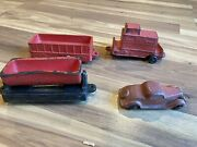 Rare 1940's Arcor Rubber Red Sedan Toy Car And Train Cars Vintage Made In Usa