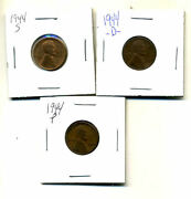 1944 P,d,s Wheat Pennies Lincoln Cents Circulated 2x2 Flips 3 Coin Pds Set3488