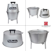 14 In. Charcoal Grill In Silver   Old Smokey Steel Small Stainless Removable Ash