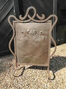 Antique Arts And Crafts Fire Guard - Wrought Iron And Hammered Copper -fire Screen