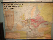 Polish Map Of Poland 1939-1945 Vintage Classroom Cloth Backed Made In 1966