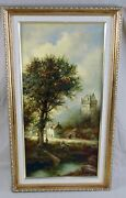 Eleonore Guinther Germany River Original Oil On Canvas Painting Signed Framed