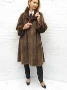 New Real Brown Sheared Beaver Fur Swing Style Baby Doll Fur Coat Plus Sized